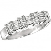 Gemlok Platinum Baguette and Round Diamond Ring - 9.931