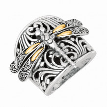 18kt Yellow Gold and Sterling Silver Oxidized Dragonfly Ring. - silr1165-07