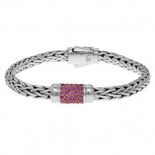 Philip Gavriel Sterling Silver Oval Weave Bracelet with Round Faceted Pink Sapphire - pgcx744-0750