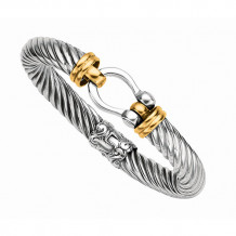 18kt Yellow Gold and Sterling Silver Twisted Patterned 7.5 Inch Bangle with Horse Shoe Center. - silf3033-0750