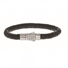 Sterling Silver 7 Inch 7mm Round Weave Black Leather Bracelet with and 1.9mm White Sapphire Round Center Cluster and Box Clasp - pgcx759-07