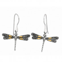 18kt Yellow Gold and Sterling Silver Oxidized Single Dragonfly Drop Earrings. - sile429
