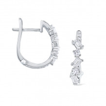 KC Designs 14k White Gold Mosaic Diamond Hoop Earrings - E3495