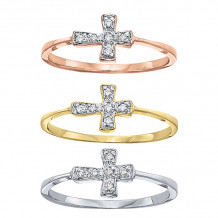 KC Designs 14k White Gold Diamond Cross Ring - R11613