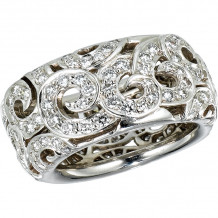 Gemlok 18k White Gold Arabesque Diamond Ring - 35.668
