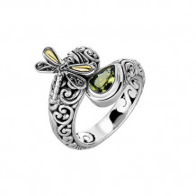 18kt Yellow Gold and Sterling Silver with Oxidized Finish Shiny 18-4.2mm Peridot Bypass Type Graduated Dragonfly Fancy Ring - silr1311-06