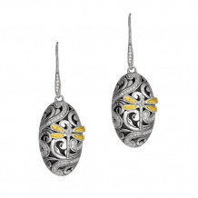 18kt Yellow Gold and Sterling Silver 0.54ct. Domed Oval Drop Earring with Dragonfly and French Wire Clasp - sile516
