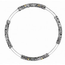 18kt Yellow Gold and Oxidized Silver Round Tube Byzantine Slip on Bangle - silf3089