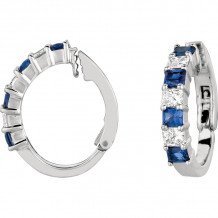 Gemlok Platinum Radiant Les Classiques Diamond & Gemstone Hoop Earrings - 70.941S