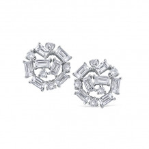 KC Designs 14k White Gold Mosaic Diamond Stud Earrings - E1124_