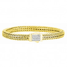 Philip Gavriel 18kt Yellow Gold and Diamond Domed Wheat Bracelet - auf1000-07