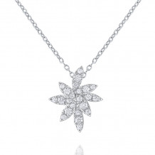 KC Designs 14k White Gold Laurel Diamond Floral Necklace - N8659