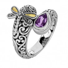 18kt Yellow Gold and Sterling Silver with Oxidized Finish Shiny 18-4.2mm Amethyst Bypass Type Graduated Dragonfly Fancy Ring - silr1308-07