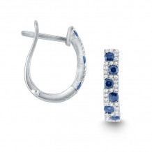 KC Designs 14k White Gold Everyday Color Diamond & Gemstone Hoop Earrings - E7154