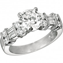 Gemlok Platinum Baguette and Round Diamond Straight Engagement Ring - 15.932YG