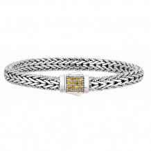 Philip Gavriel Sterling Silver Narrow Wheat Patterned with Piping Trim Bracelet - pgcx733-0750