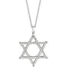 Gemlok 18k White Gold Les Classiques Diamond Star of David Pendant - 90.203