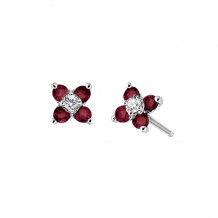 David Connolly 14k White Gold Ruby Earrings - 6581RUW
