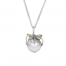 18k Gold Dragonfly Drop Pendant on Sterling Silver Rolo Chain w Lobster Clasp