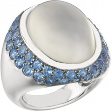 Gemlok 18k White Gold Bold Les Bijoux Gemstone Ring - 35.708MS-SA