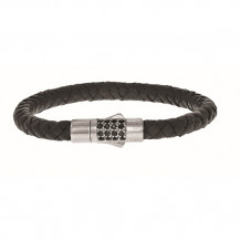 Sterling Silver 7 Inch 7mm Round Weave Black Leather Bracelet with and 1.9mm Black Sapphire Round Center Cluster and Box Clasp - pgcx786-07