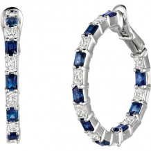 Gemlok Platinum Radiant Les Classiques Diamond & Gemstone Hoop Earrings - 70.944S