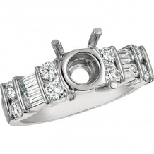 Gemlok Platinum Baguette and Round Diamond Straight Engagement Ring - 15.935P