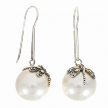 18kt Yellow Gold and Sterling Silver with Oxidized Finish Fancy Dragonfly Drop Earring with White Pearl. - sile511