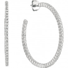 Gemlok Minilok 18k White Gold Diamond Hoop Earrings - 70.695