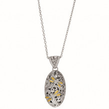 18kt Yellow Gold and Sterling Silver 0.43ct. Diamond Oval Domed Pendant with Dragonfly - silch6159