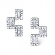 KC Designs 14k White Gold Mosaic Diamond Stud Earrings - E7393