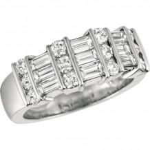 Gemlok Platinum Baguette and Round Diamond Ring - 10.931P