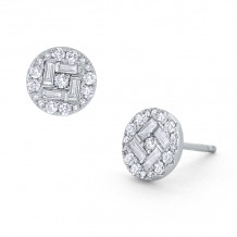 KC Designs 14k White Gold Mosaic Diamond Stud Earrings - E7305
