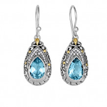 18kt Yellow Gold and Sterling Silver with Oxidized Finish Shiny 35x13mm White Sapphire and Blue Topaz Teardrop Fancy Byzantine Drop Earring with Euro Wire Clasp - sile596