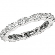 Gemlok Platinum Baguette and Round Diamond Eternity Wedding Band - 6.929