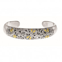 18kt Yellow Gold and Oxidized Sterling Silver 0.25ct. Diamond Dragonfly Cuff Bangle - silf3315
