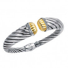 0.12ct. Diamond 18kt Yellow Gold and Sterling Silver Oxidized Ridged Cuff Bangle. - silb11-07