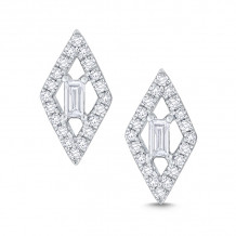 KC Designs 14k White Gold Mosaic Diamond Stud Earrings - E7552