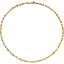 Gemlok 18k Yellow Gold & Platinum Les Bars D'Or Diamond Necklace - 60.622GLDB