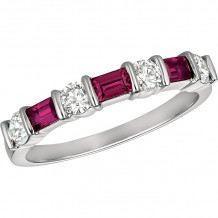 Gemlok Platinum Baguette and Round Diamond & Gemstone Anniversary - 5.431R
