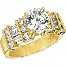 Gemlok 18k Yellow Gold Baguette and Round Diamond Straight Engagement Ring - 15.936