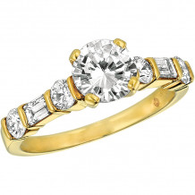 Gemlok 18k Yellow Gold Baguette and Round Diamond Straight Engagement Ring - 15.931YG