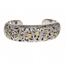 18kt Yellow Gold and Oxidized Sterling Silver 0.59ct. Diamond Dragonfly Wider Cuff Bangle - silf3316