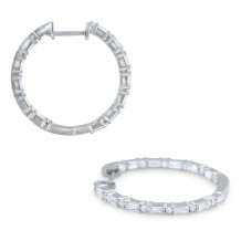 KC Designs 14k White Gold Mosaic Diamond Hoop Earrings - E8721