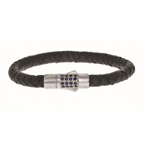 Sterling Silver 7 Inch 7mm Round Weave Black Leather Bracelet with and 1.9mm Blue Sapphire Round Center Cluster   and Box Clasp - pgcx760-07