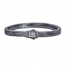Sterling Silver 7 Inch Black Rhodium Finish 7mm Square Weave Bracelet with Fancy Box Clasp with 1.7mm White Sapphire Cluster - pgcx813-07