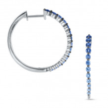 KC Designs 14k White Gold Everyday Color Diamond & Gemstone Hoop Earrings - E8700