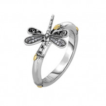 18kt Yellow Gold and Sterling Silver with Oxidized Finish Shiny 14-2.9mm Bamboo Textured White Sapphire Dragonfly Fancy Ring - silr1307-07