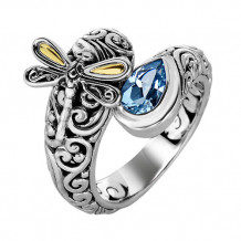 18kt Yellow Gold and Sterling Silver with Oxidized Finish Shiny 18-4.2mm Blue Topaz Bypass Type Graduated Dragonfly Fancy Ring - silr1309-06
