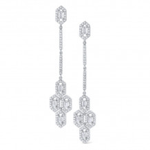 KC Designs 14k White Gold Mosaic Diamond Drop Earrings - E4911